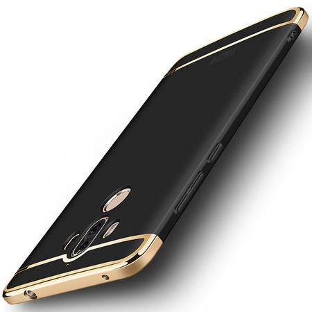 Handy Hülle Schutz Case für Huawei Mate 10 Bumper 3 in 1 Cover Chrom Schwarz