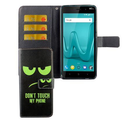 Handyhülle Tasche für Handy Wiko Lenny 4 Plus Dont Touch My Phone Grün