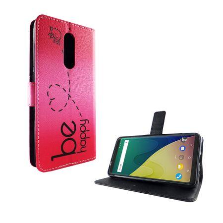 Handyhülle Tasche für Handy Wiko View XL Be Happy Pink – Bild 5