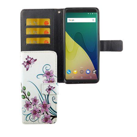 Handyhülle Tasche für Handy Wiko View XL Lotusblume – Bild 1