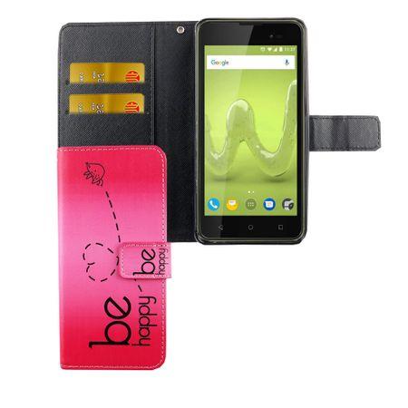 Handyhülle Tasche für Handy Wiko Sunny 2 Plus Be Happy Pink – Bild 4