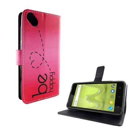 Handyhülle Tasche für Handy Wiko Sunny 2 Plus Be Happy Pink – Bild 5