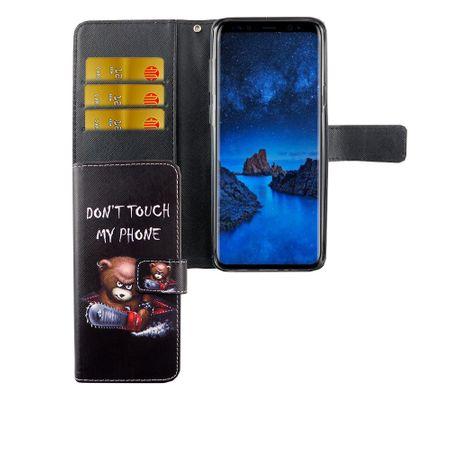 Handyhülle Tasche für Handy Samsung Galaxy S9+ Plus Schriftzug Bär mit Kettensäge