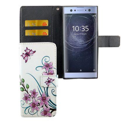 Handyhülle Tasche für Handy Sony Xperia XA2 Lotusblume