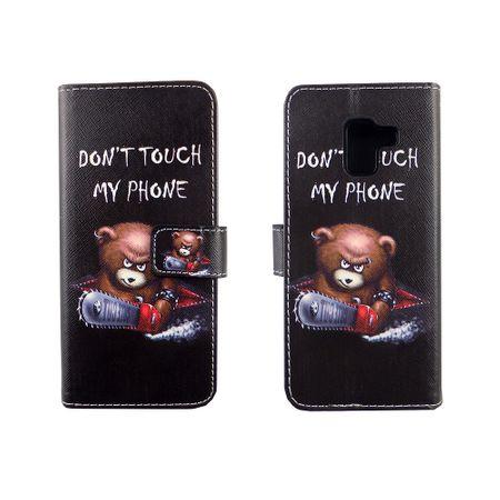 Handyhülle Tasche für Handy Samsung Galaxy A8 2018 Schriftzug Bär mit Kettensäge – Bild 3