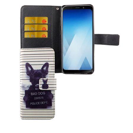 Handyhülle Tasche für Handy Samsung Galaxy A8 2018 Böser Hund Weiß