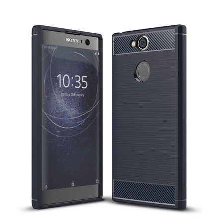 Sony Xperia XA2 TPU Case Carbon Fiber Optik Brushed Schutz Hülle Blau