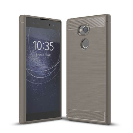 Sony Xperia XA2 TPU Case Carbon Fiber Optik Brushed Schutz Hülle Grau