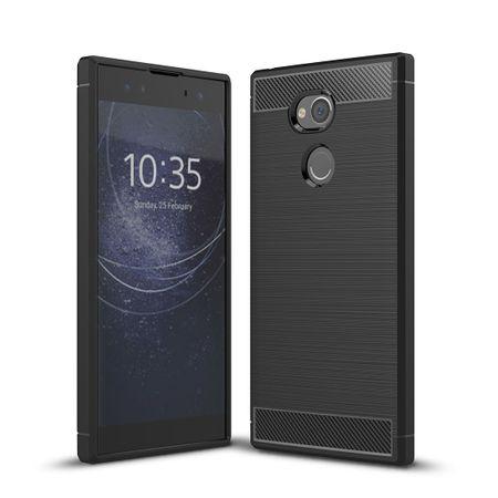 Sony Xperia XA2 Ultra TPU Case Carbon Fiber Optik Brushed Schutz Hülle Schwarz – Bild 1