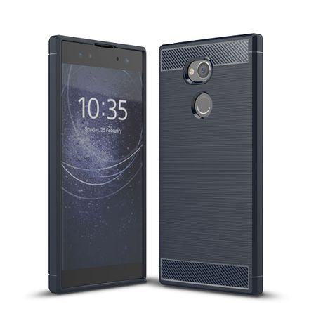 Sony Xperia XA2 Ultra TPU Case Carbon Fiber Optik Brushed Schutz Hülle Blau – Bild 1