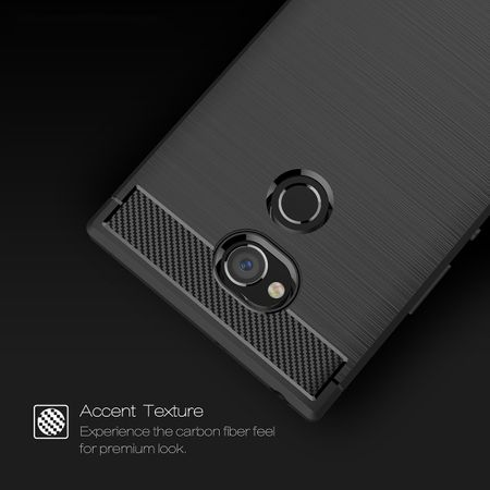 Sony Xperia XA2 Ultra TPU Case Carbon Fiber Optik Brushed Schutz Hülle Blau – Bild 3