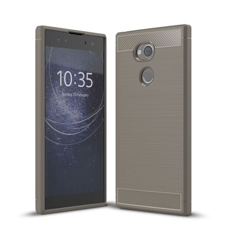 Sony Xperia XA2 Ultra TPU Case Carbon Fiber Optik Brushed Schutz Hülle Grau