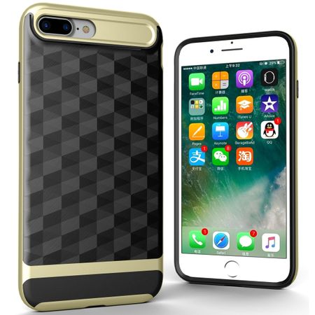 Hülle für Apple iPhone 8 Plus Backcover Case Handy Schutzhülle - Cover 3D Prisma Design Gold