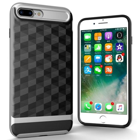 Hülle für Apple iPhone 8 Plus Backcover Case Handy Schutzhülle - Cover 3D Prisma Design Silber