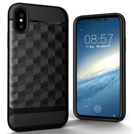 Hülle für Apple iPhone X / 10 Backcover Case Handy Schutzhülle - Cover 3D Prisma Design Schwarz