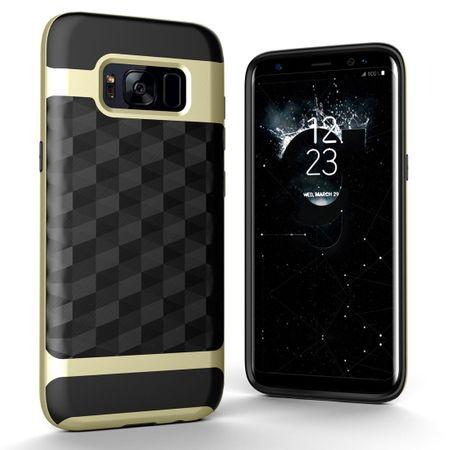 Hülle für Samsung Galaxy S7 Edge Backcover Case Handy Schutzhülle - Cover 3D Prisma Design Gold