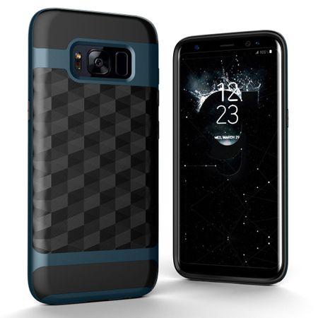 Hülle für Samsung Galaxy S7 Edge Backcover Case Handy Schutzhülle - Cover 3D Prisma Design Navy Blau