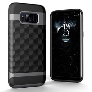 Hülle für Samsung Galaxy S8 Plus Backcover Case Handy Schutzhülle - Cover 3D Prisma Design Grau
