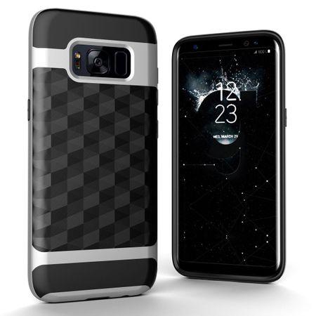 Hülle für Samsung Galaxy S8 Plus Backcover Case Handy Schutzhülle - Cover 3D Prisma Design Silber