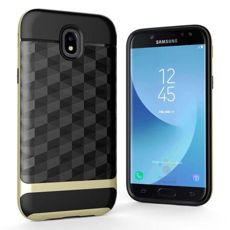 Hülle für Samsung Galaxy J3 2017 Backcover Case Handy Schutzhülle - Cover 3D Prisma Design Gold
