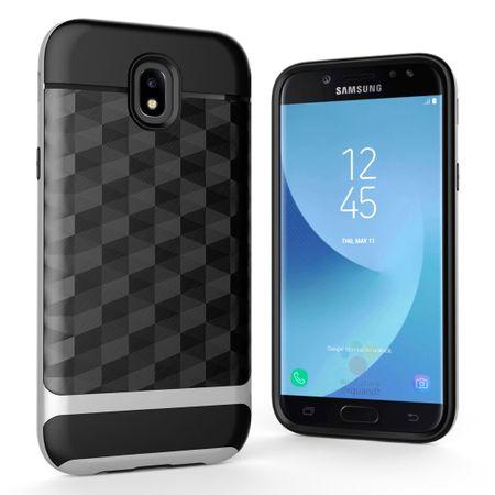 Hülle für Samsung Galaxy J5 2017 Backcover Case Handy Schutzhülle - Cover 3D Prisma Design Silber