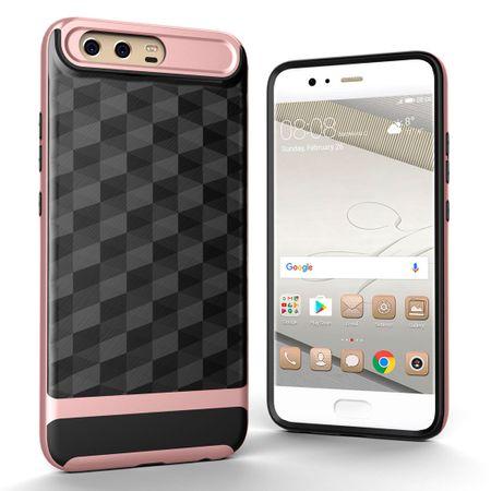 Hülle für Huawei P10 Backcover Case Handy Schutzhülle - Cover 3D Prisma Design Rose Gold