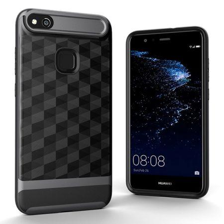 Hülle für Huawei P10 Lite Backcover Case Handy Schutzhülle - Cover 3D Prisma Design Grau