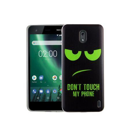 Handy Hülle für Nokia 2 Dont Touch My Phone Grün Smartphone Cover Bumper Schale Etuis