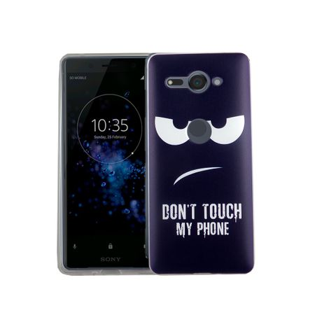 Handy Hülle für Sony Xperia XZ2 Compact Dont Touch My Phone Blau Smartphone Cover Bumper Schale Etuis – Bild 2