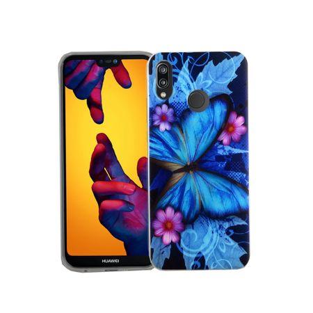 Handy Hülle für Huawei P20 Lite Blauer Schmetterling Smartphone Cover Bumper Schale Etuis