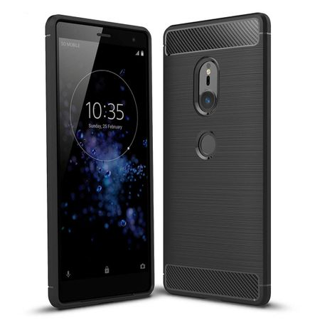 Sony Xperia XZ2 TPU Case Carbon Fiber Optik Brushed Schutz Hülle Schwarz