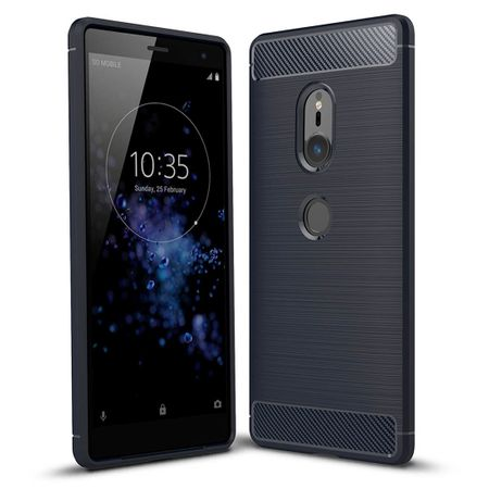 Sony Xperia XZ2 TPU Case Carbon Fiber Optik Brushed Schutz Hülle Blau