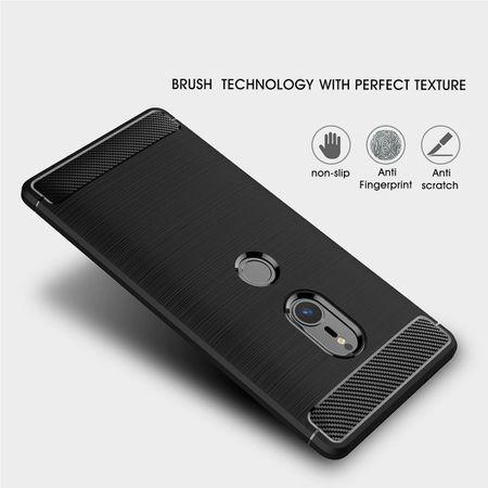 Sony Xperia XZ2 TPU Case Carbon Fiber Optik Brushed Schutz Hülle Blau – Bild 4