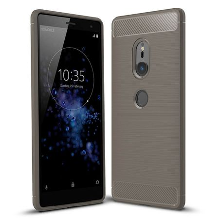Sony Xperia XZ2 TPU Case Carbon Fiber Optik Brushed Schutz Hülle Grau