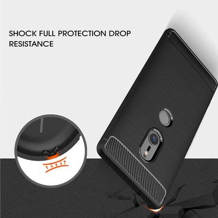Sony Xperia XZ2 TPU Case Carbon Fiber Optik Brushed Schutz Hülle Grau – Bild 6