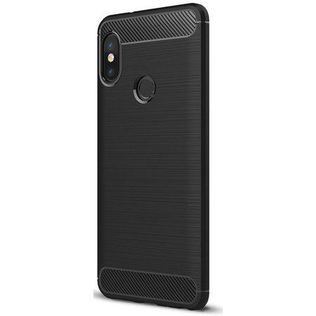 Xiaomi Mi 6X TPU Case Carbon Fiber Optik Brushed Schutz Hülle Schwarz