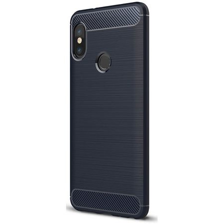 Xiaomi Mi 6X TPU Case Carbon Fiber Optik Brushed Schutz Hülle Blau