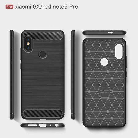 Xiaomi Mi 6X TPU Case Carbon Fiber Optik Brushed Schutz Hülle Blau – Bild 6
