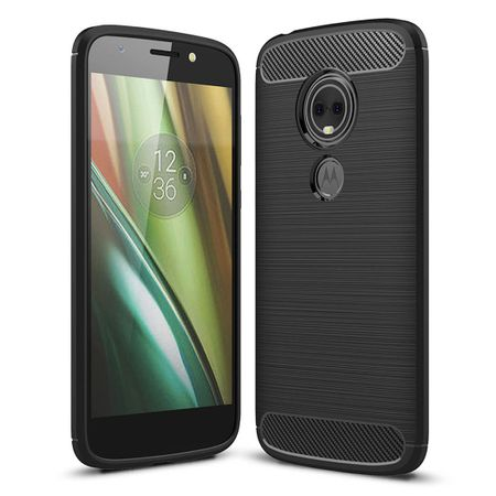 Motorola Moto E5 Play TPU Case Carbon Fiber Optik Brushed Schutz Hülle Schwarz