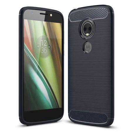 Motorola Moto E5 Play TPU Case Carbon Fiber Optik Brushed Schutz Hülle Blau – Bild 2