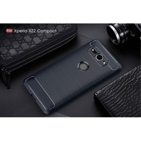 Sony Xperia XZ2 Compact TPU Case Carbon Fiber Optik Brushed Schutz Hülle Blau – Bild 2