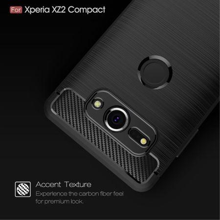 Sony Xperia XZ2 Compact TPU Case Carbon Fiber Optik Brushed Schutz Hülle Blau – Bild 4