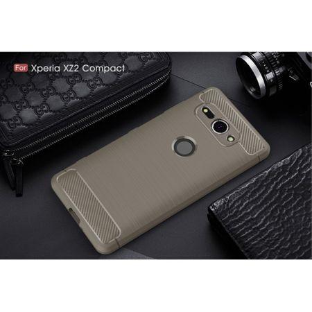 Sony Xperia XZ2 Compact TPU Case Carbon Fiber Optik Brushed Schutz Hülle Grau – Bild 2