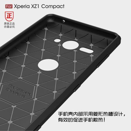 Sony Xperia XZ2 Compact TPU Case Carbon Fiber Optik Brushed Schutz Hülle Grau – Bild 6