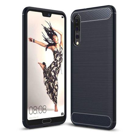 Huawei P20 Pro TPU Case Carbon Fiber Optik Brushed Schutz Hülle Blau