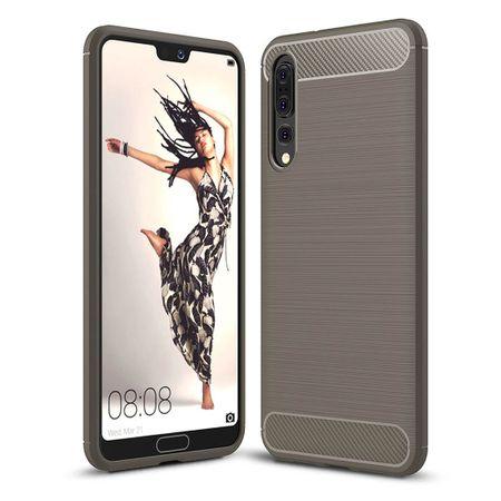 Huawei P20 Pro TPU Case Carbon Fiber Optik Brushed Schutz Hülle Grau