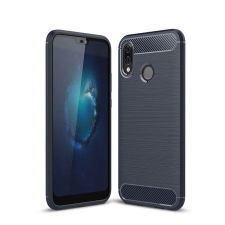 Huawei P20 Lite TPU Case Carbon Fiber Optik Brushed Schutz Hülle Blau