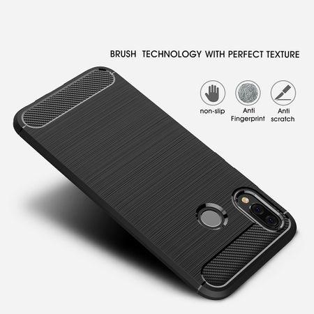 Huawei P20 Lite TPU Case Carbon Fiber Optik Brushed Schutz Hülle Blau – Bild 3