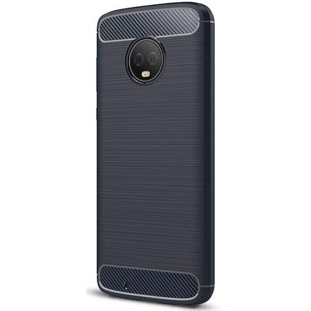 Motorola Moto G6 TPU Case Carbon Fiber Optik Brushed Schutz Hülle Blau