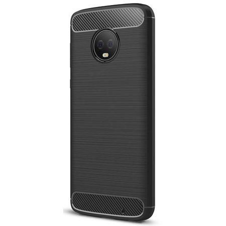 Motorola Moto G6 Plus TPU Case Carbon Fiber Optik Brushed Schutz Hülle Schwarz